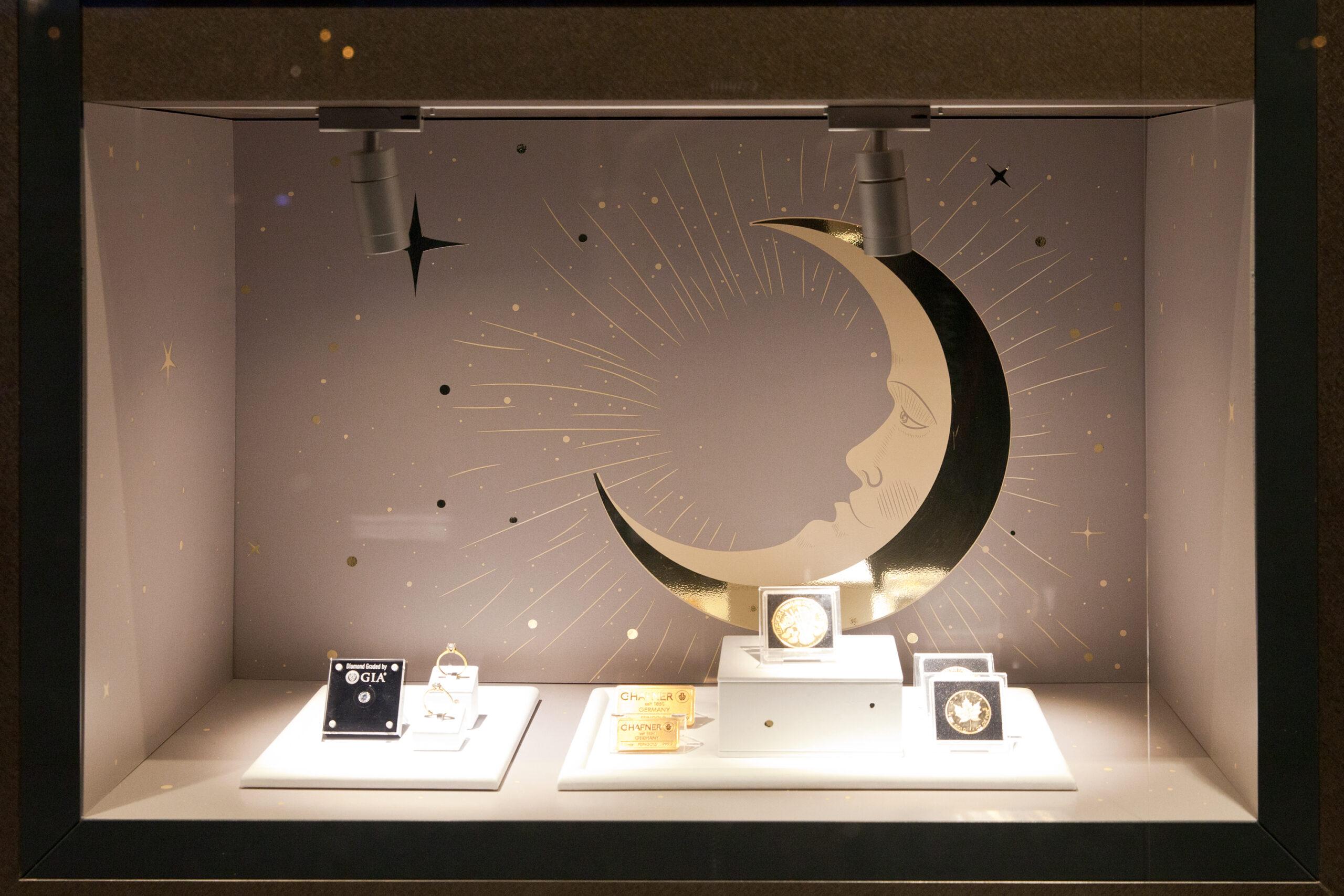 projektowanie witryn sklepowych wystawa jubilerska goldenmark