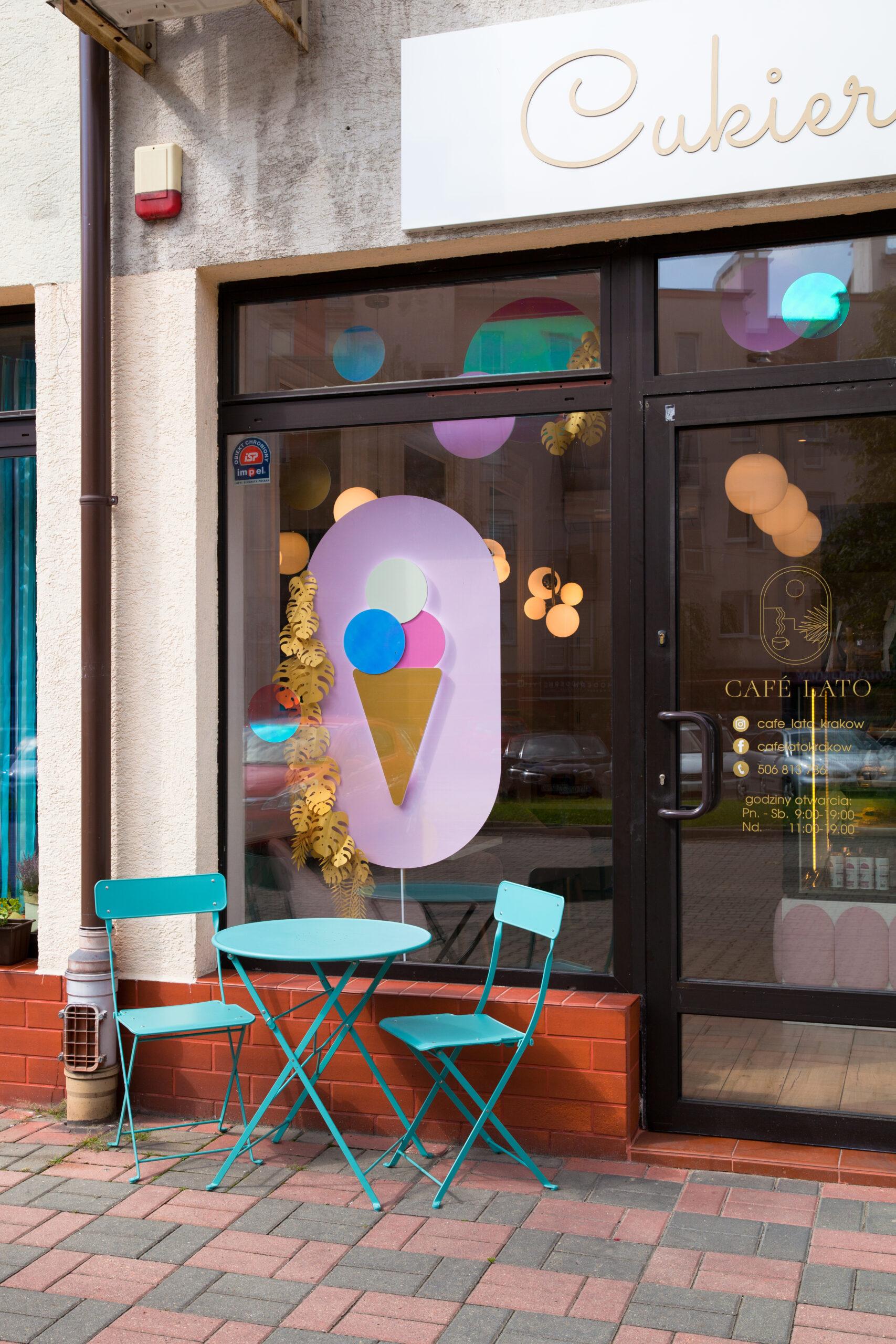 projektowanie witryn sklepowych wystawa witryna cukiernia lodziarnia